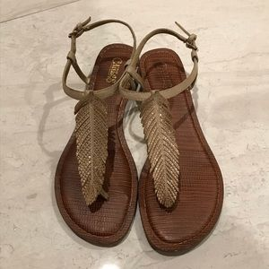 Feather Sandals w/ slight heel